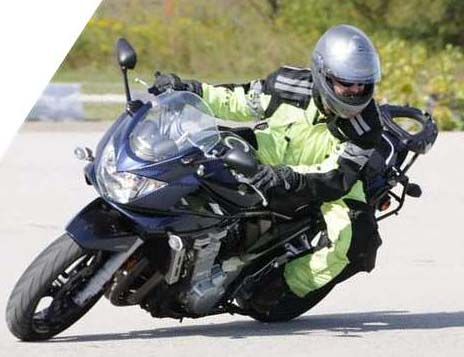 The only one piece suit that is comfortable on sportbike (V2 shown)